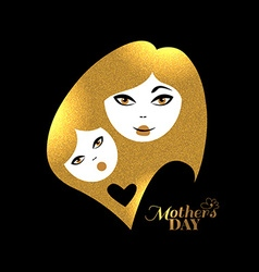 Gold mother silhouette with her baby Card of Happy vector image