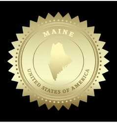 Gold star label Maine vector