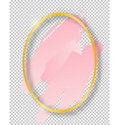 Golden shiny vintage oval frame with brush vector