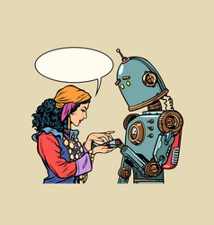 Gypsy fortune teller and robot palmistry vector
