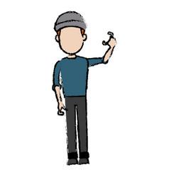 hacker character standing wear cap pose image vector image