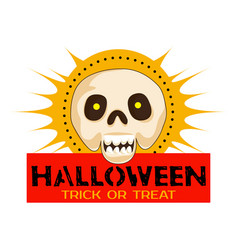 halloween skull party logo cartoon style vector image