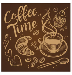 Hand drawn coffee time vintage background vector