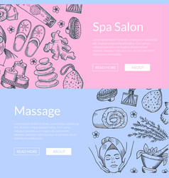 hand drawn spa elements horizontal web vector image