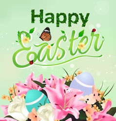 Happy Easter typographical card and background vector image