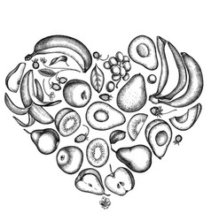 Heart floral design with black and white apples vector