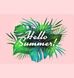 hello summer tropical banner vector image