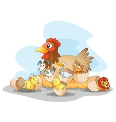 Hen and animals vector image