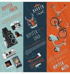Hipster flat banners set vector image