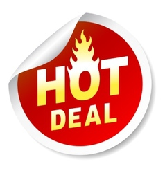 Hot deal sticker badge with flame vector image