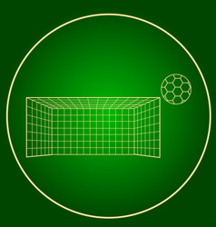 Icons soccer gates and soccer ball neon circle vector