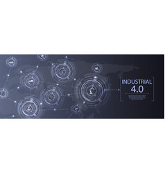 industry 40 concept banner concept with icons vector image