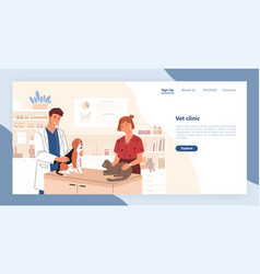 Landing page template with pair smiling vector