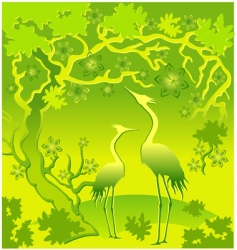 Landscape with herons vector