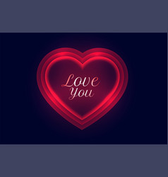 Love you message in glowing red neon hearts vector