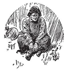 man sitting with legs crossed vintage vector image