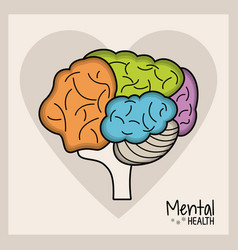 Mental health brain heart vector