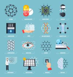 Nanotechnologies icons set vector