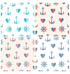 Navy seamless patterns set anchor steering wheels vector