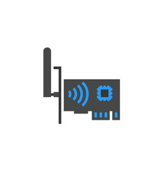 network card icon flat cartoon style vector image