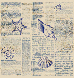 newspaper pattern and hand draw in marine style vector image
