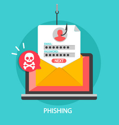 phishing login and password on fishing hook vector image