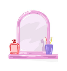 Pink frame mirror with shelf where are violet vector