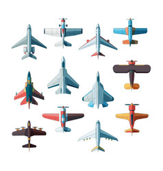 planes top view jet military aircraft flat vector image