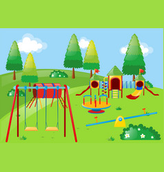 Playground with lots of stations in the park vector