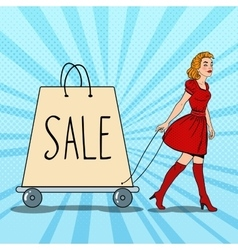 Pop Art Woman with Giant Shopping Bag on Sale vector image