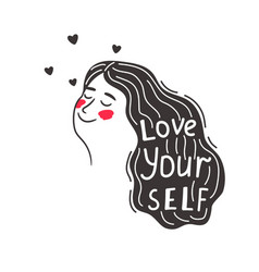 positive caring girl love yourself vector image