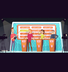 quiz tv show smart competition with three players vector image