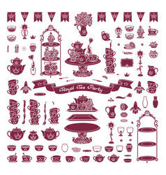 royal dishes tableware set vector image