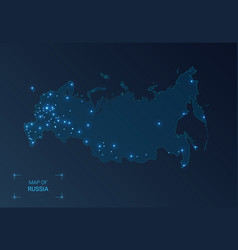 Russia map with cities luminous dots - neon vector