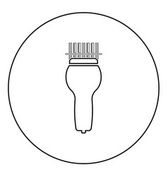 Scanning barcode with hand scanner icon in circle vector