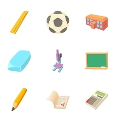 Schoolhouse icons set cartoon style vector image