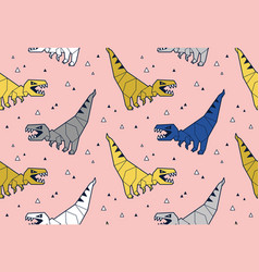 seamless pattern with dinosaurs origami in blue vector image