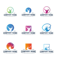 Set colorful deer head design logo vector