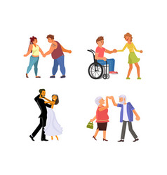 set dancing couples vector image