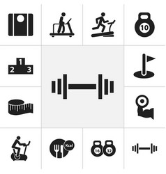 set of 12 editable sport icons includes symbols vector image