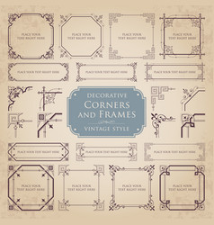 set of decorative corners and frames vector image