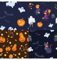 Set of seamless patterns for halloween party vector