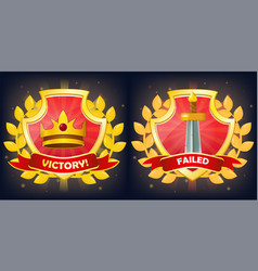 shields with victory and failure banner crown vector image