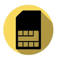 Sim card sign flat black icon with flat vector