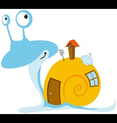 Snail with mobil home vector