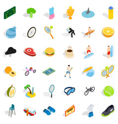 surfing icons set isometric style vector image