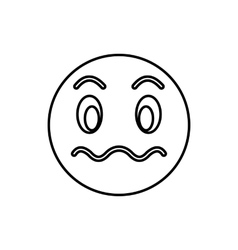 Suspicious emoticon icon outline style vector image