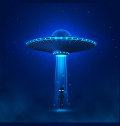 Ufo with ray light fly in night sky alien vector