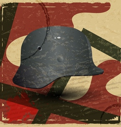 Vintage card with fascist military helmet vector image