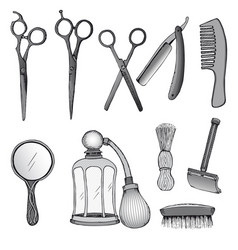 vintage hairdresser tools set vector image